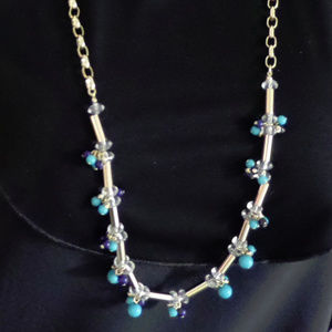 """GOLDTONE BLUE, CLEAR TURQUOISE CRYSTAL BEADED 34"""""""